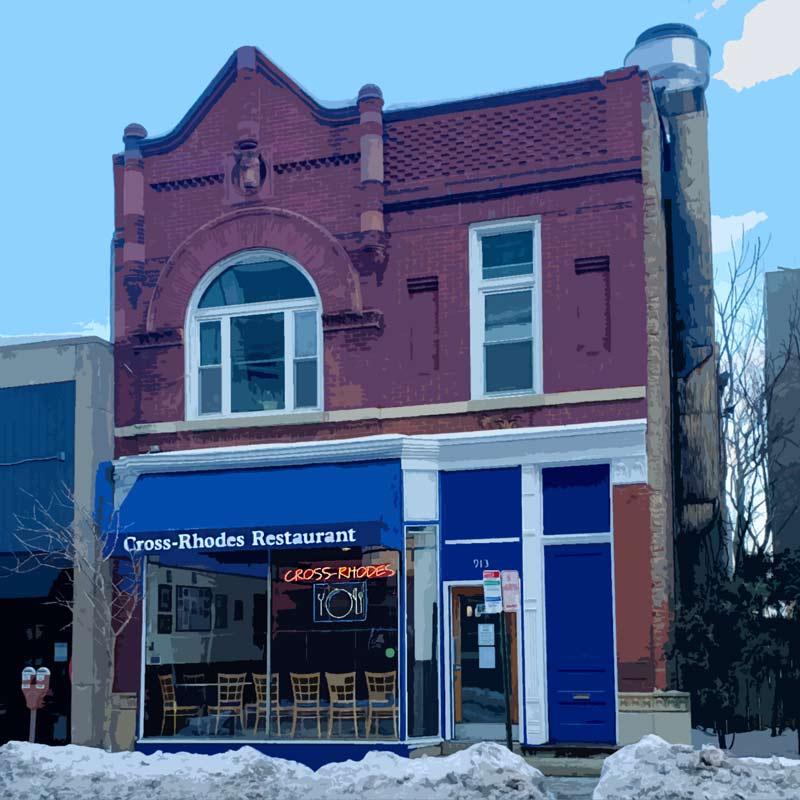 cross rhodes restaurant in evanston facade