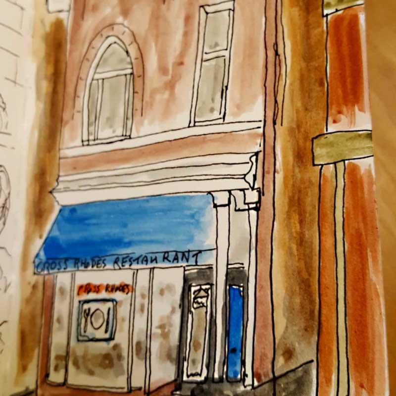 painting of greek restaurant in evanston cross rhodes